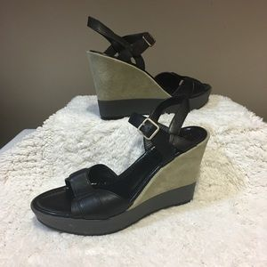 """Cole Haan Shoes - Cole Haan """"Paley"""" black leather suede wedge 7 1/2"""